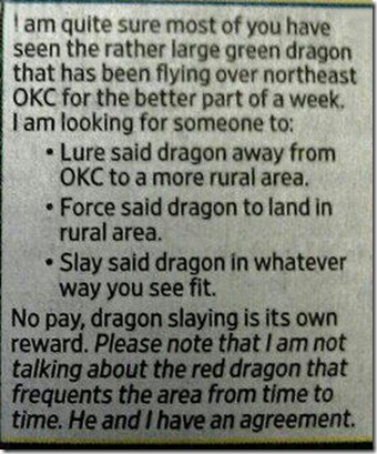 dragonslayingnewspaperad
